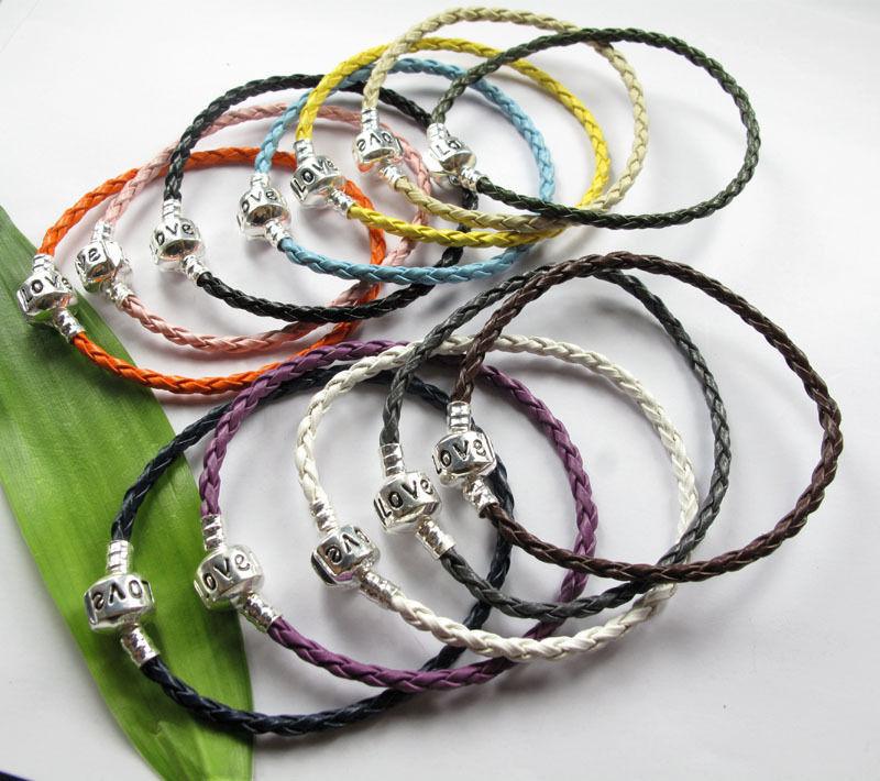 Wholesale Mixed color 10PCS 3mm Braid leather Charm Bracelets S36847