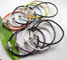 Wholesale Mixed color 10PCS 3mm Braid leather Charm Bracelets S36847