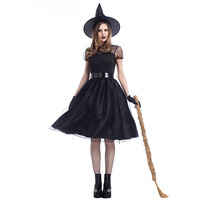 Halloween Costumes Fancy Party Dress Women Sheerness Black Witch Dress Crape Sexy Devil Games Anime Cosplay Mesh Party Dress