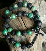 B1510165538 Lava Rock And Green Riverstone Agate Beads Pave Jet Rhinestone Cross Bracelet Set
