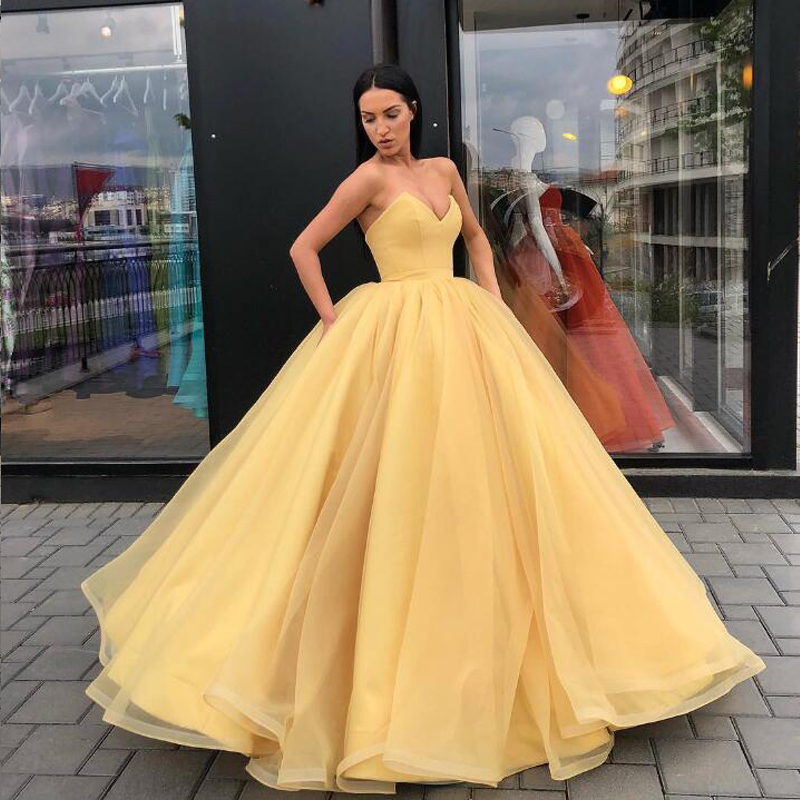 Orange Ball Gown Evening Gowns V Neck Strapless Organza Satin Floor Length Plus Size Prom Gowns Women Maxi Dresses - 3