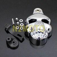 Billet Aluminum Motorcycle Skull Cowbell Horn Cover Carburetor Cover for Harley V ROD Softail Dyna Road King Custom