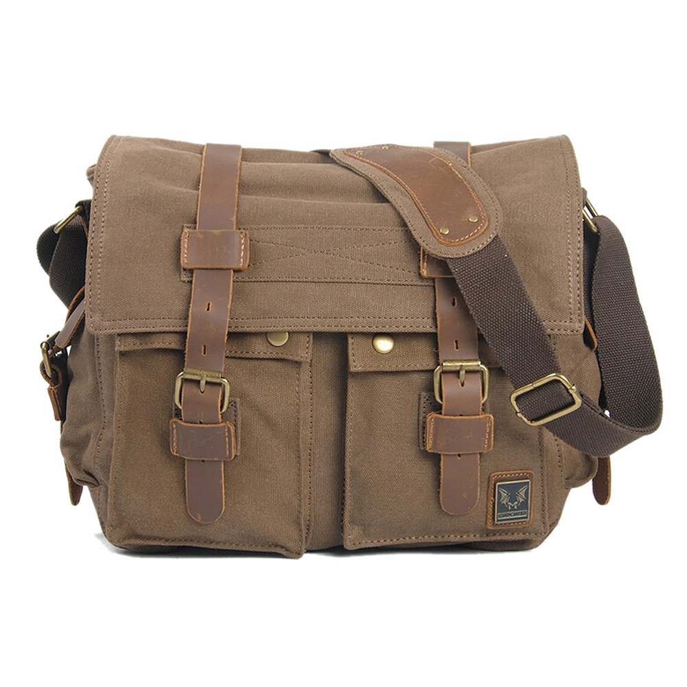 Vintage Canvas Leather School Briefcase Military Travel Shoulder Bag Messenger Sling Crossbody Bag Satchel-Carbon