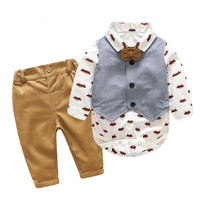 Newborn Boy&girl Clothing Sets Cotton Gentleman 2018 Autumn Spring Fashion Plaid Rompers + Jeans + Vest Baby Clothes 0 24M