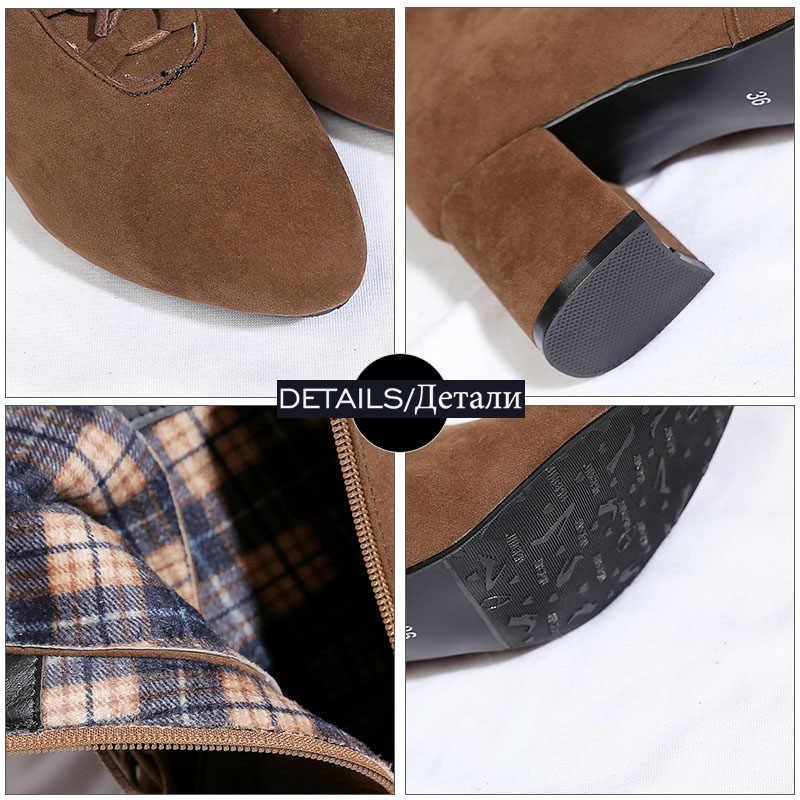 JK รองเท้าส้นสูงรองเท้าผู้หญิง Cross ผูกข้อเท้ารอบ Toe ฤดูหนาวรองเท้าแฟชั่นรองเท้าผู้หญิงรองเท้าขนาด 34-48