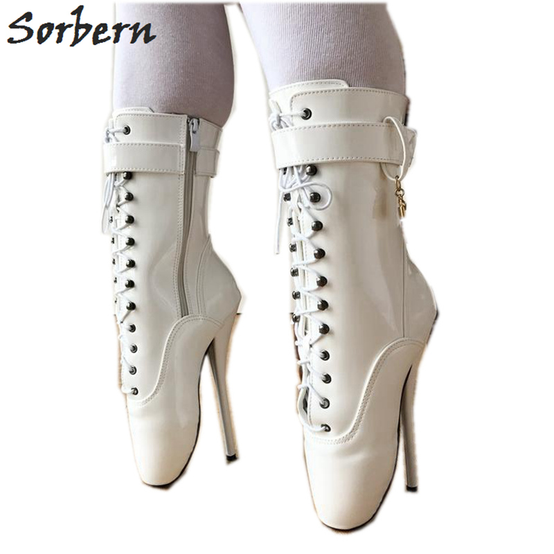 US $95.4 10% OFF|Sorbern Ballet Pointe Boots Fetish Pinup Ballet Zipper Lace up Ankle Boots For Women Shoes 18cm Extrem High Heel Stand On Toe in