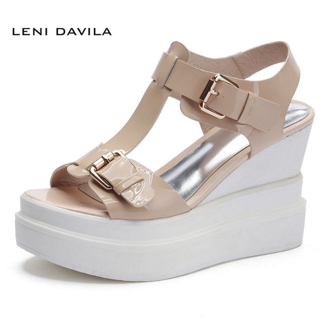 LENI DAVILA Summer Full Grain Leather Women's Wedges Heel Platforms sandals Fashion comfortable handmade Casual shoes for women black red 2015 full grain leather women s summer comfortable shoes pointed toe rhinestone fashion flat heel shoes for women