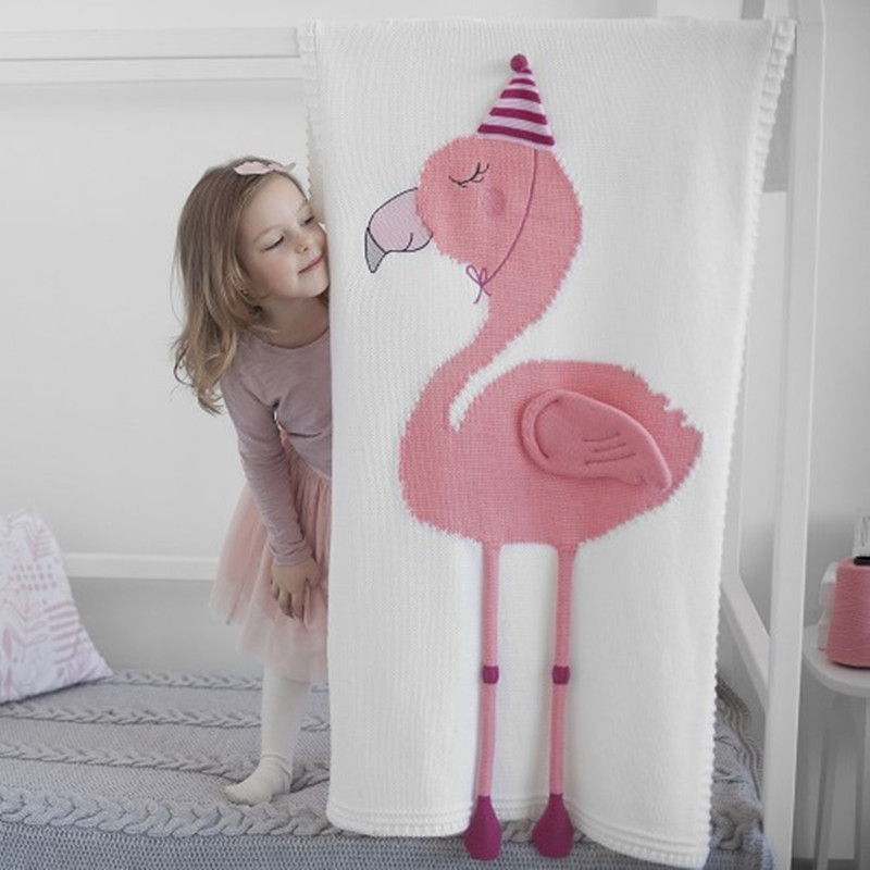 Nordic Style Baby Blanket Swadding Flamingos 3D Cartoon Acylic Knitted Children Blanket Unicorn Baby Photography Props Blanket big size nordic navy blue gray mixed sofa cover blanket 130 170cm simple style wearable blanket sofa towel car blanket