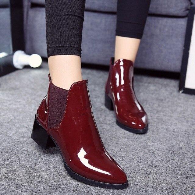 SAGACE nowy mody patentu skórzane botki okrągły nosek gruby obcas buty Chelsea elastyczna tkanina kobiety buty damskie buty O 35