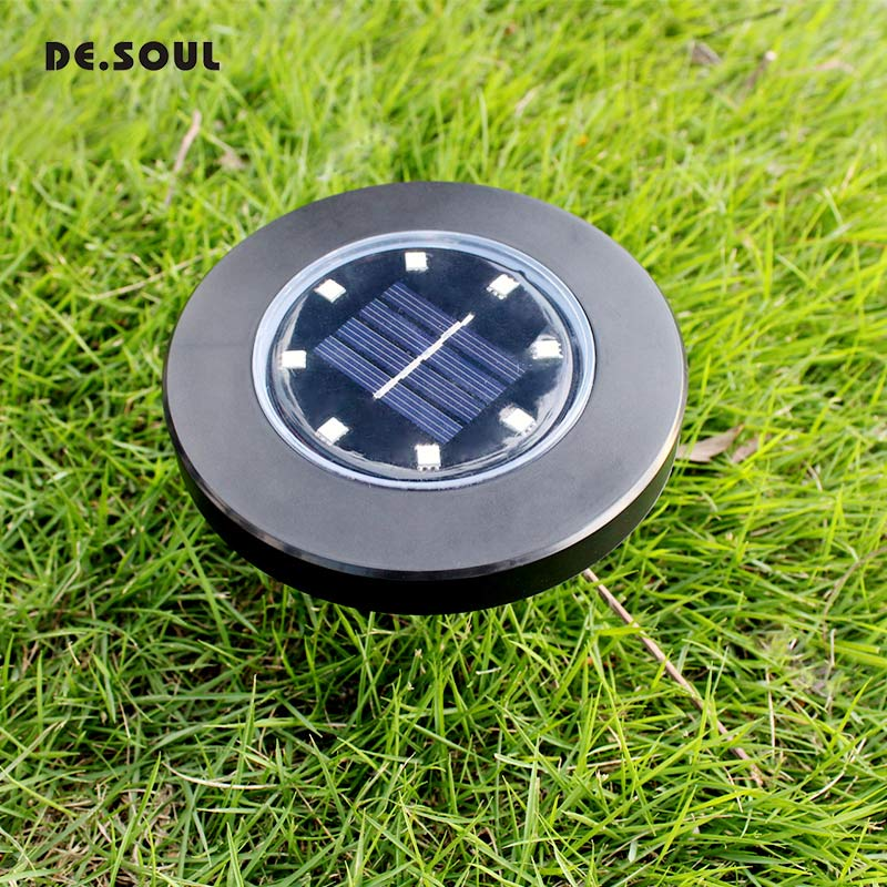 DE.SOUL Solar Powered Ground Light Outdoor Waterproof 8LED Path Lawn Solar Lamp for Home Yard Driveway Lawn Road зимний конверт altabebe lambskin car seat bag mt2003 lp dark grey 64