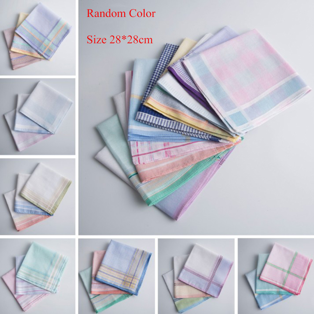 3PC Men Casual Plaid Pocket Square Sweat Towel Cotton Suit Pocket Handkerchiefs Random Color 28*28CM Party Club Handkerchiefs