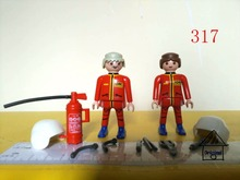 1 set playmobil toy of pretend toy 2 firefighter Fire Extinguisher Action Figures mini figure child toys gift