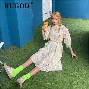 Image 5 - RUGOD vestido midi de encaje bordado para verano, elegante vestido con volantes para mujer, estilo coreano chi, para fiesta en la playa