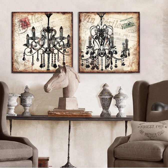 2015 Vintage Chandelier Crystal Lamp Canvas Wall Art Modern Home Decoration Painting The Living Room Office