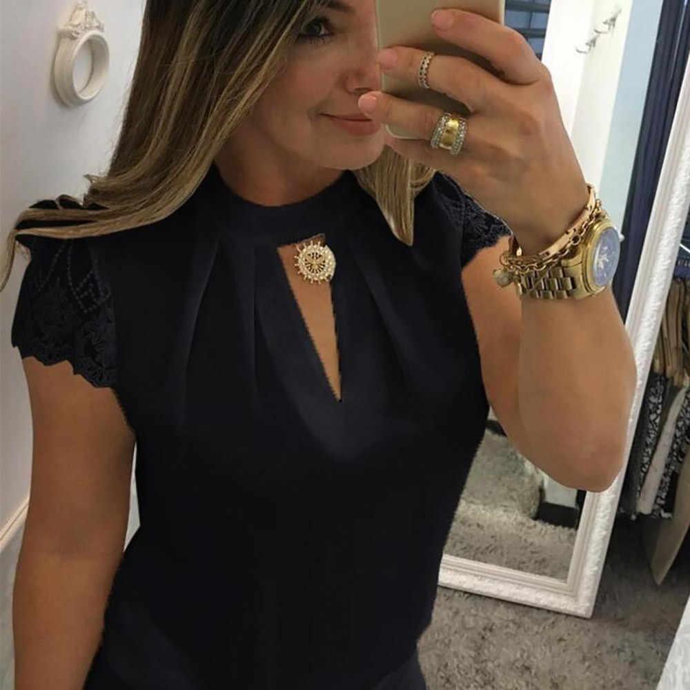 Женская шифоновая блузка 2019 Femme короткий рукав с кружевным верхом Повседневная рубашка Для Девочек Сладкий Летний Плюс Размер выдалбливают Топ новый