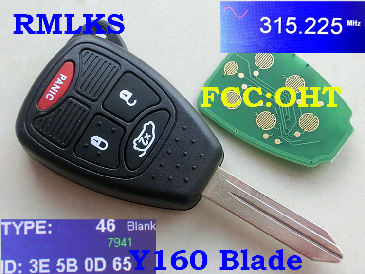 RMLKS New Uncut Remote Key Fob 3BTN+Panic 315Mhz 433MHz ID46 PCF7941 Chip For Chrysler For Dodge For Jeep FCC M3N FCC OHT