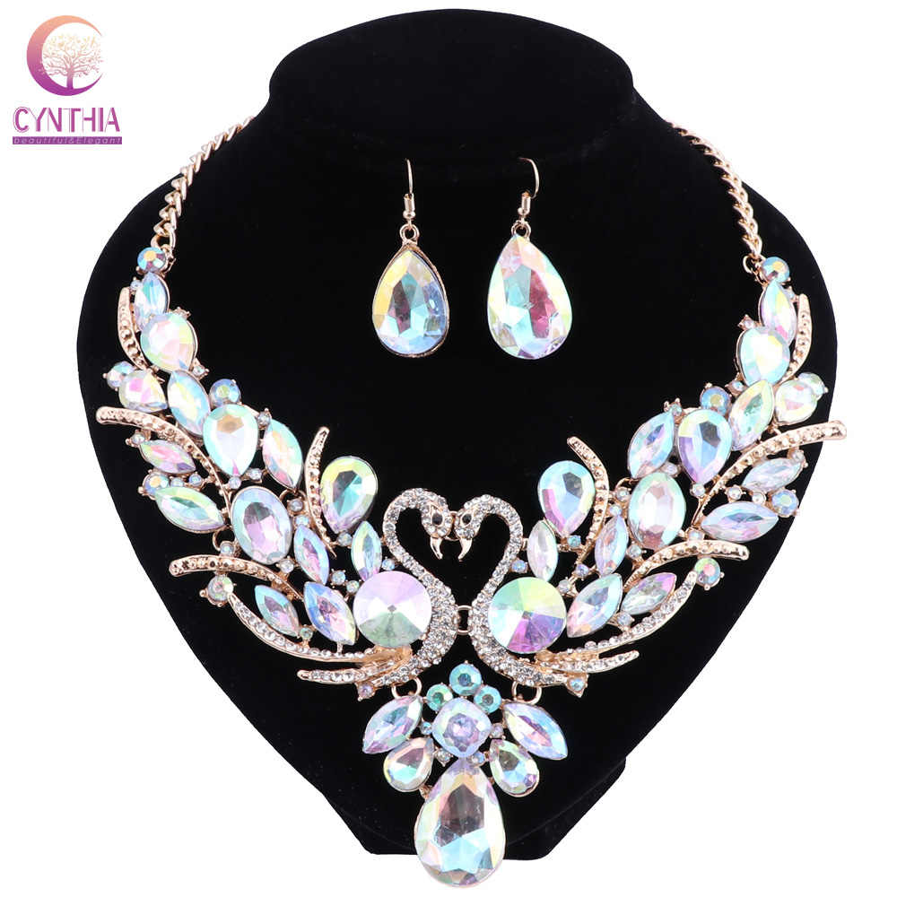 Swan AB Crystal Bridal Jewelry Set For Woman Gold Color Necklace Earrings Wedding Beads Fashion Jewelry Gift