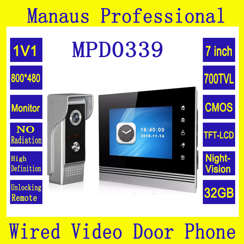 7  LCD Monitor Wired Intercom System Memory Video Door Phone For Villa Series with Outdoor Waterproof Night Vision Camera D0339 7inch video door phone intercom system for 5apartment tft lcd screen 5 flat indoor monitor with night vision cmos outdoor camera