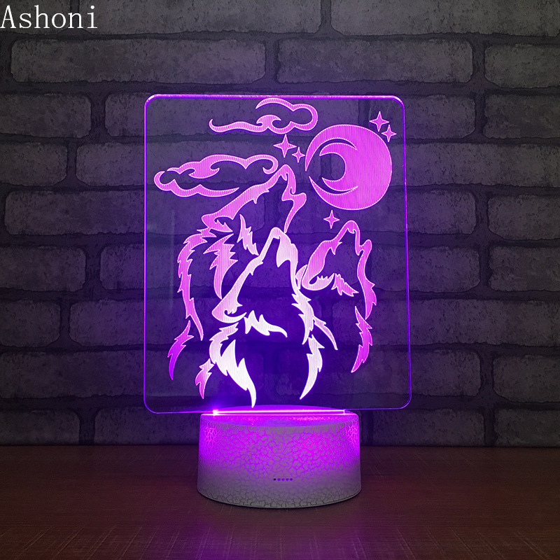 Wolf and Moon 3D Acrylic LED Night Light Touch 7 Color changing Desk Table Lamp Party Decorative Light Gift in LED Night Lights from Lights Lighting