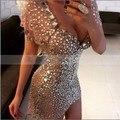 De lujo lleno de cristal rhinestone champagne cortos vestidos de coctel 2017 vestidos de coctel elegantes sexy con cuello en v partido prom dress
