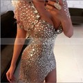 Luxury Full Crystal Rhinestone Champagne Short Cocktail Dresses 2017 Vestidos de coctel elegantes Sexy V-neck Prom Party Dress