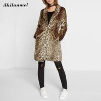 2017 зимние для женщин; Большие размеры Leopard Мех животных боковые карманы S-XXL Винтаж элегантный теплое пальто модная теплая верхняя одежда casaco...