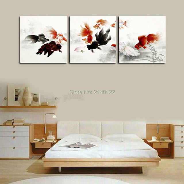 Hot Chinese Style 3pcs Framed Goldfish Art Canvas HD Picture Home ...