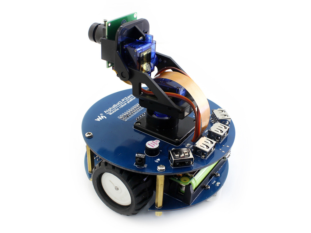 AlphaBot2 Smart Car robot Building Kit for Raspberry Pi Zero W (built-in WIFI) with Camera, Ultrasonic sensor, 16GB SD Card