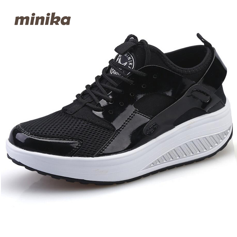 Minika women Shoes Casual Women PU Lose Weight Flats Platform Breathable Fashion Women Lace Up Wedges  Shoes Loafers 7e33
