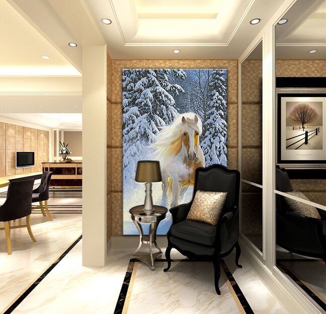Custom horse wallpaper 3D,snow and horse painting for the living room bedroom TV background wall waterproof silk cloth wallpaper custom horse wallpaper 3d oil painting horse for the living room bedroom tv background wall waterproof textile papel de parede