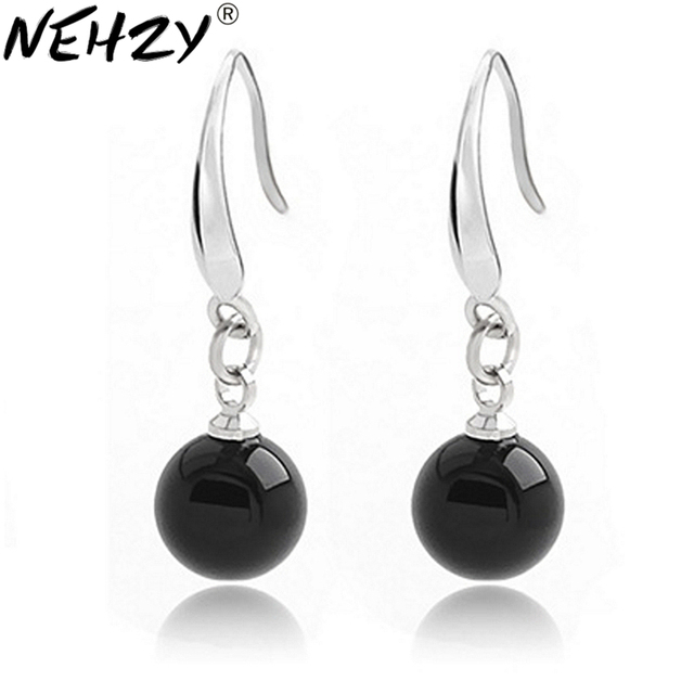 6bb2fbeda NEHZY Silver earrings female models fashion cute black and red jewelry wild  super flash retro crystal jewelry