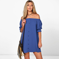 2017 New Fashion Women Summer Dress Sexy Slash Neck Off Shoulder Women Dresses Solid Color Half