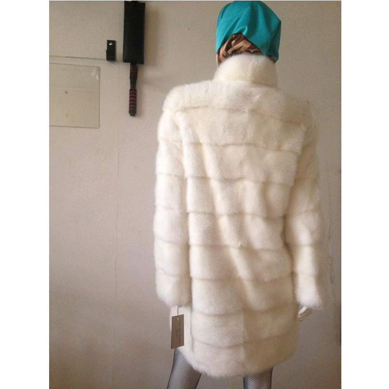 TOPFUR 2018 Winter Long Natural Mink Fur New Mink Fur Coat Fashion Women Luxury Jacket With Fur Collar White Full Sleeve