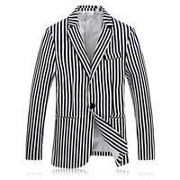 Top Quality Uomini Blazer Nuovo Modo di Arrivo A Righe Giacca Slim Fit Casual One Button blazer masculino costume homme 4XL-M