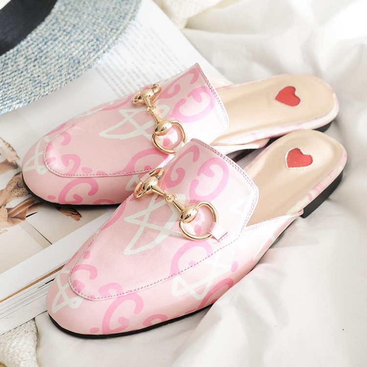 Round Toe Slip On Tiger Embroidery Flat Women Mules Metal Decor Heart Patchwork Slippers PU Leather Prints Floral Shoes insect embroidery flat mules