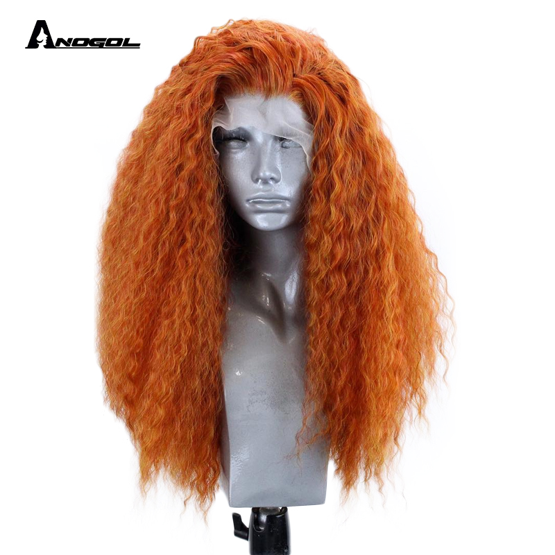 Anogol Fire Blend High Temperature Fiber Merida Long fluffy Curly Orange Side Part Synthetic Lace Front