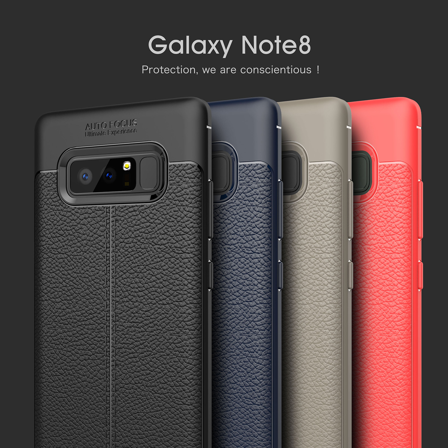Litchi Leather Luxury Phone Cases For Samsung Note8 Case Soft Carbon Fiber Cases Protective Case Business Style Funda