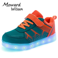 Good Quality USB LED Shoes Light Glowing Luminous Sneakers with light sole for Kids Boys Girls Tenis LED Slippers Children