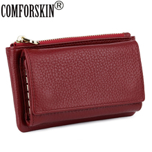 COMFORSKIN High Quality Cowhide Women Coin Purses Luxurious 100% Genuine Leather Zipper Purse  Multi-function Key Wallet 2018