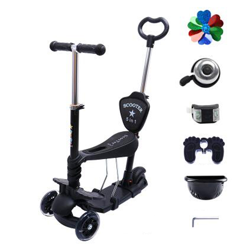 Toddler 4 in 1 Kick Scooter With With Big Light Up Wheels And Foot Brake Patinete Infantil SC01-in Kick Scooters,Foot Scooters from Sports & Entertainment