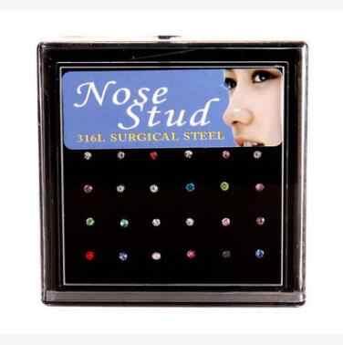 24 יחידות\מארז האף טבעת סט נשים ילדה קריסטל נירוסטה כירורגי פלדת פירסינג קריסטל האף Stud הרבה גוף תכשיטים