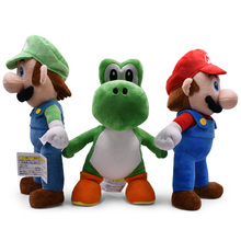 3 pcs/lot Anime Super Mario Bros Standing Yoshi Luigi Peluche Doll Plush Soft Stuffed Baby Toy Great Christmas Gift For Children 40cm high quality super mario bros mario luigi stuffed plush dolls soft toys gift for children big size 2pcs lot free shipping