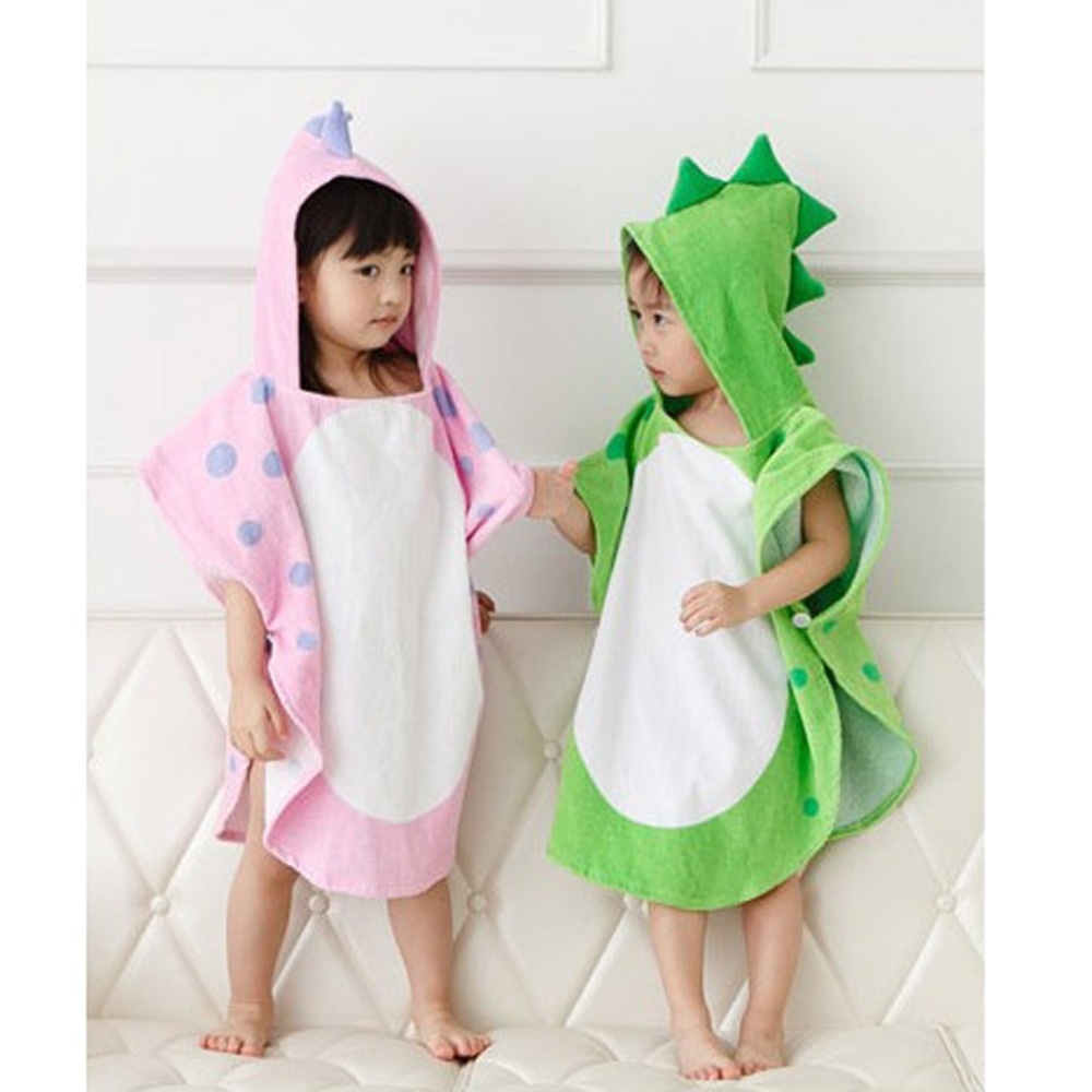 Baby Towels Hooded With Paw Dinosaur Ponchos Hooded Children's Bath Towel Kids Beach Towel Infant Bathrobe For 0-6 Years