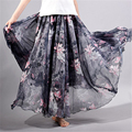 2017 verão nova moda vintage bohemia chiffon floral impresso mulheres boho festa na praia do assoalho-comprimento maxi longo solto flare saia