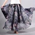 2017 verano nueva moda vintage bohemia gasa floral impresa de las mujeres piso-longitud maxi largo beach party boho loose flare falda