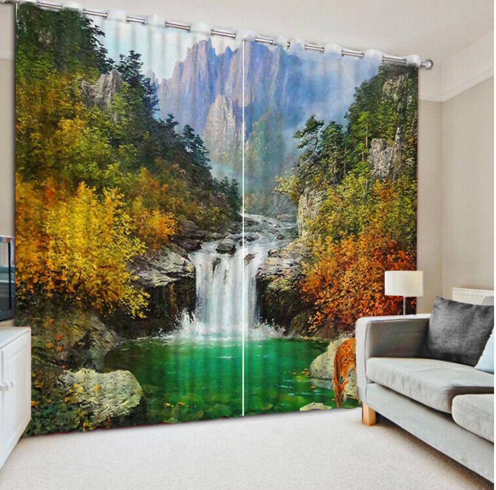 Luxury Blackout 3D Window Curtain For Living Room modern living room curtains  landscape curtain Luxury Blackout 3D Window Curtain For Living Room modern living room curtains  landscape curtain