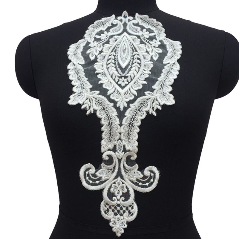 1Piece DIY Craft Mesh Fabric Embroidery Lace Patch Decorated Sewing Necklace Neckline Collar Applique Trim in Lace from Home Garden