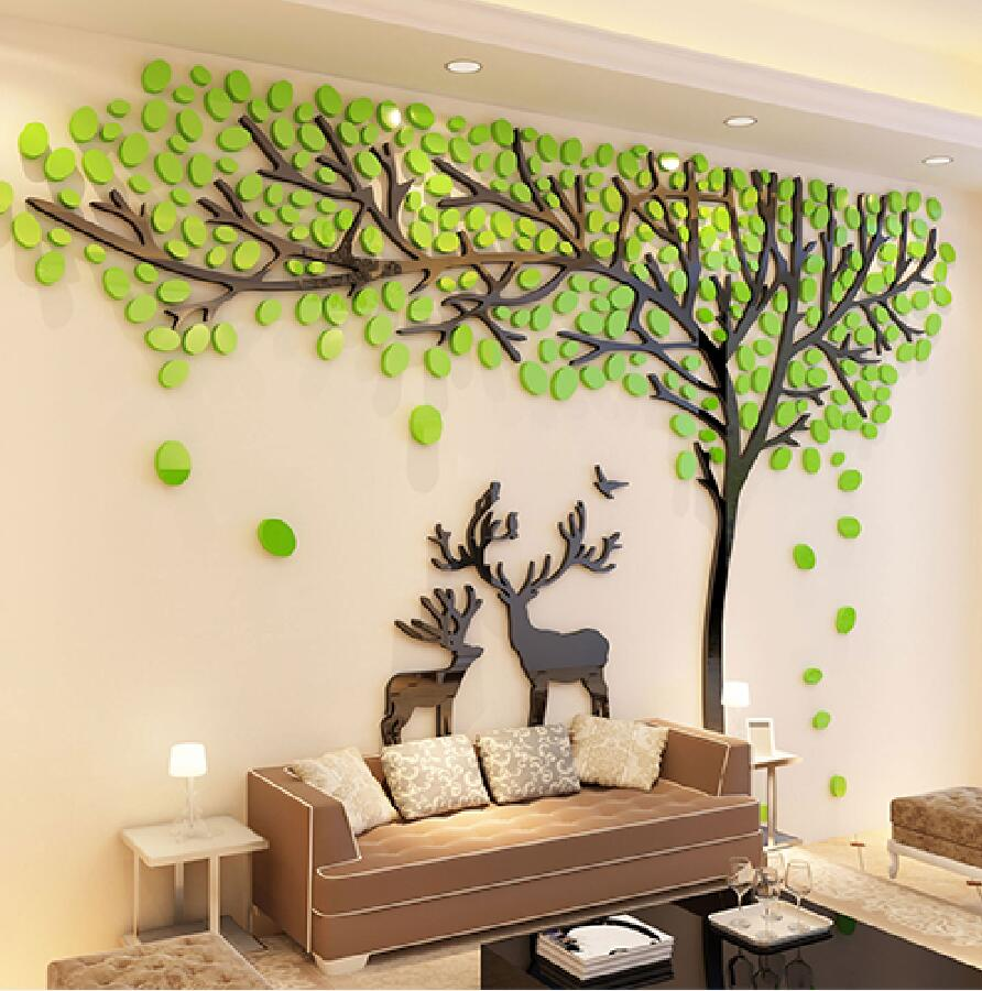 2017 Elk Trees 3d Stereo Wall Stickers Living Room Sofa Tv Background Crystal Wall Stickers Room