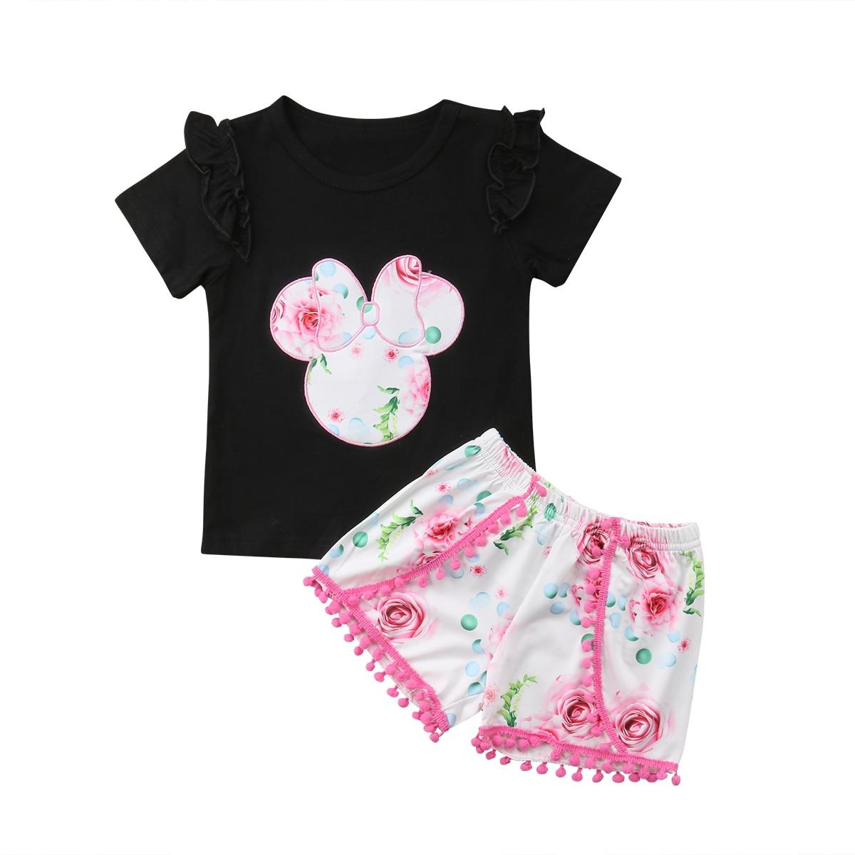 rechange Baby Girls Shorts Set Short Sleeves Letter Print Tassel Black T-Shirt Top Stripe Short Pants 2Pcs Outfits