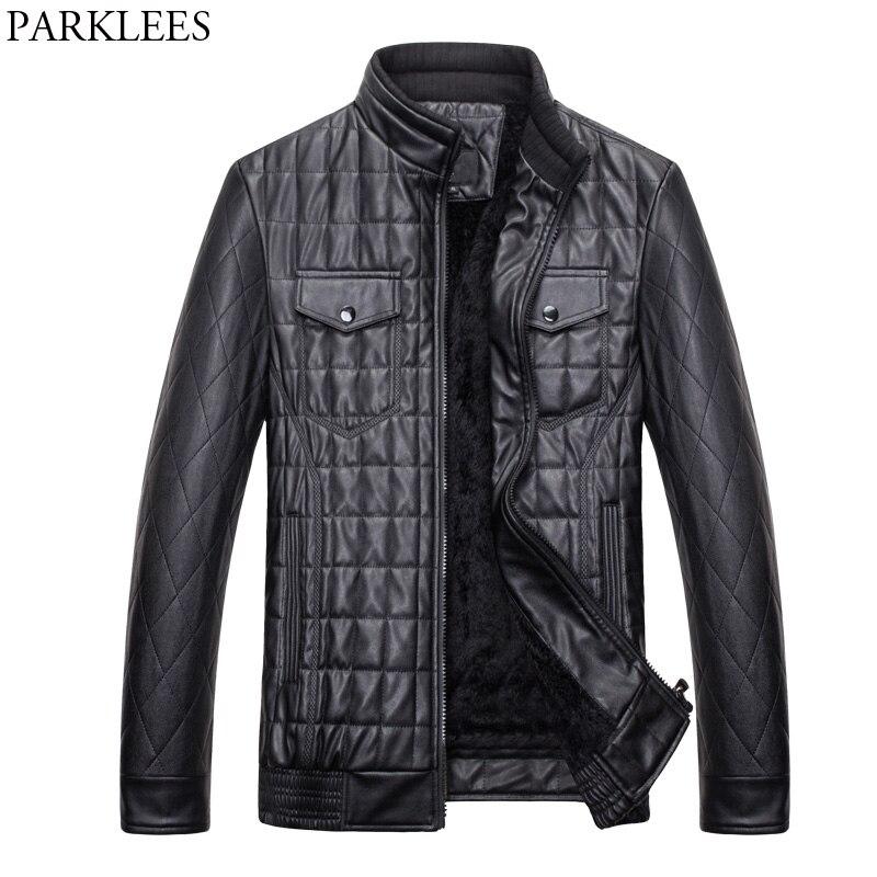 Pilot Leather Jacket Men 2017 Casual Slim Fit Mens Jackets Coats Winter PU Leather Motorcycle Jacket Veste Homme Quilted Jacket